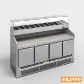 HiCold desks, refrigerated pizzeria, stainless steel with stone countertop and glass showcase # 1