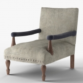 Loki Washed Gray Kilim Arm Chair