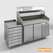 HiCold refrigeration pizzeria, stainless steel with stone countertop and glass showcase # 2