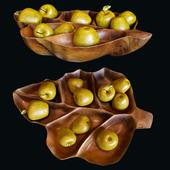 Apples, a bowl of teak