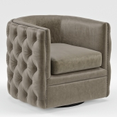 Sawyer Gray Leather Round Swivel Chair
