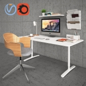 Bekant Desk with Fjallberget