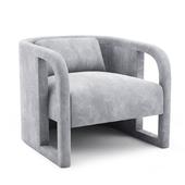 Milo Baughman, Pair of Curved Velvet Club Chairs