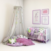 Multicolored set for a nursery - a cot, a soft zone with pillows and a canopy and pictures