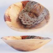 Wood Parat Bowl With Metal Inlay