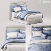 RH TEEN EDGED BORDER & OGEE LATTICE BEDDING FRENCH BLUE