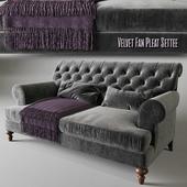 Velvet Fan Pleat Settee | RALF Coffee table