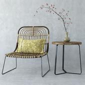 House Doctor Kawa rattan chair & Manutti sidetable