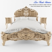 Rococo Ornately Carved Bed in Antique Gold Leaf