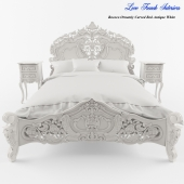 Rococo Ornately Carved Bed Antique White