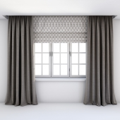 Direct curtains in the floor and Roman curtains