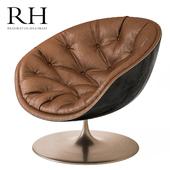 Restoration Hardware Custom Swivel Chair With Nailheads