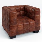 Arthur Tufted Leather Cube Club Chair
