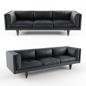 Rosewood and Original Black Leather Sofa by Illum Wikkelsø