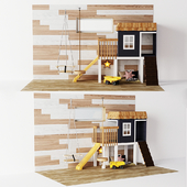 A cozy set for a children's room A small house with Tarzanka and a Suspension swing