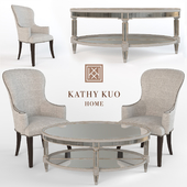Biondo Armchair and Antique Mirror Coffee Table