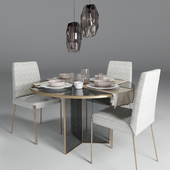 Dining group Kelly Wearstler + suspension Crystal lux DALI