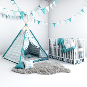 Set for baby boy - wigwam with mattress, pillows, fur coat and cot