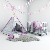 Set for baby girl - wigwam with mattress, pillows, fur coat and cot