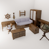 A set of children's furniture in a marine style.