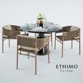 Ethimo Kilt Dining Armchair & Holly Hunt Peso Table