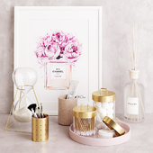 Pink & Brass Zakkia Bathroom Set