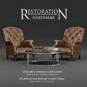 Restoration Hardware / Diplomat Leather Club Chair & Nicholas Oak Round Coffee Table