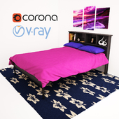 DARK CAPPUCCINO FULL DOUBLE BED WITH BOOKCASE HEADBOARD