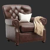 Pottery Barn LANSING LEATHER ARMCHAIR