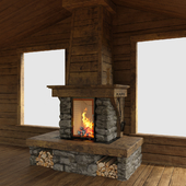 Fireplace in chalet style