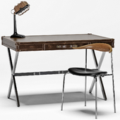 Luke Industrial Leather Desk, CH88 Stacking Chair, Shermer Industrial Lamp