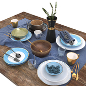 Table set   Blue and brown table set
