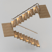 Modern staircase made of wood and glass with backlighting Astro 7481 Borgo 43
