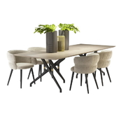 TORSO TABLE 837 / TR AND POTOCCO COULISSE ARMCHAIR