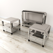 Montreal Mirrored Console Table and Table w / Drawer