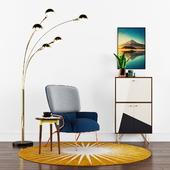 Cotton armchair Missana design, Senk Floor Lamp Brass