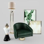 Essential Home Bogarde Armchair, Vinicius side table + Frato Lamp