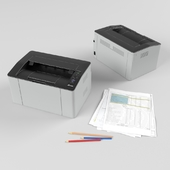 Laser printer samsung SL-M2022 with a stack of papers