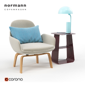 Normann Copenhagen. Era Lounge Chair Low / Stay Table 40x40 / Cap Table Lamp