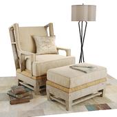 Kathy Kuo Home armchair and ottoman set