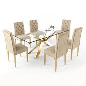 Cameron Velvet Dining Chair and Meridian Furniture Capri Dining