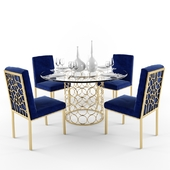 Meridian Opal Dining Room Set in Gold & Navy