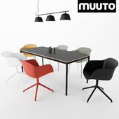 MUUTO Fiber Armchair, Ambit Rail Lamp, Base Table