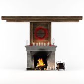 Fireplace in chalet style and decor set