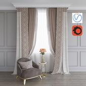 Портьера, кресло и столик с розами (Vray+Corona))