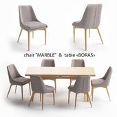 Столовый набор, стол Boras, стул Marble