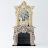 Fireplace with mirror