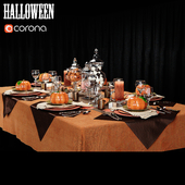 At the contest table setting in the style of Halloween