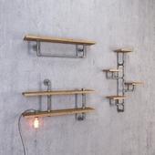 Полки из труб со светильником