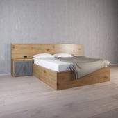 """Двуспальная кровать с тумбами и встроенным изголовьем """"Анкоридж"""""""